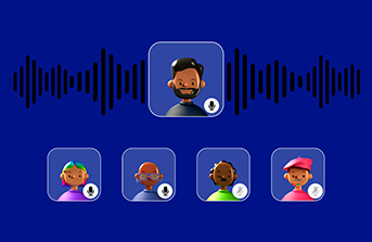A banner with user icons with mics and a voice wave on background