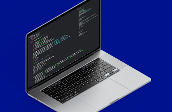 Web page code on a laptop