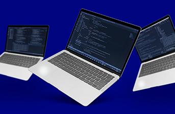 Three small laptops