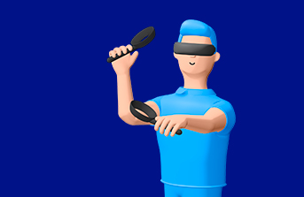 A man with VR headset on