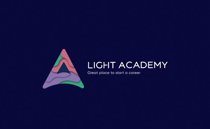 Light Academy logo on blue background