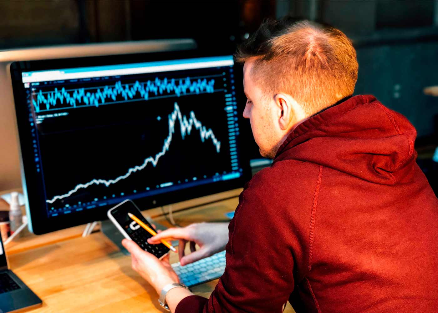 A trader using both mobile and desktop versions of a trading application