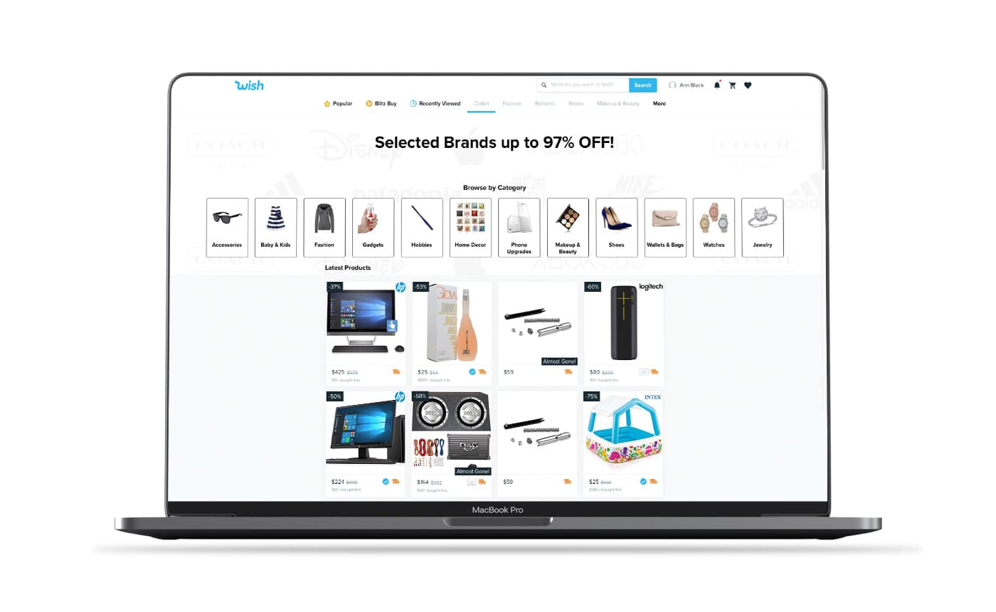 Wish shopping app screenshot