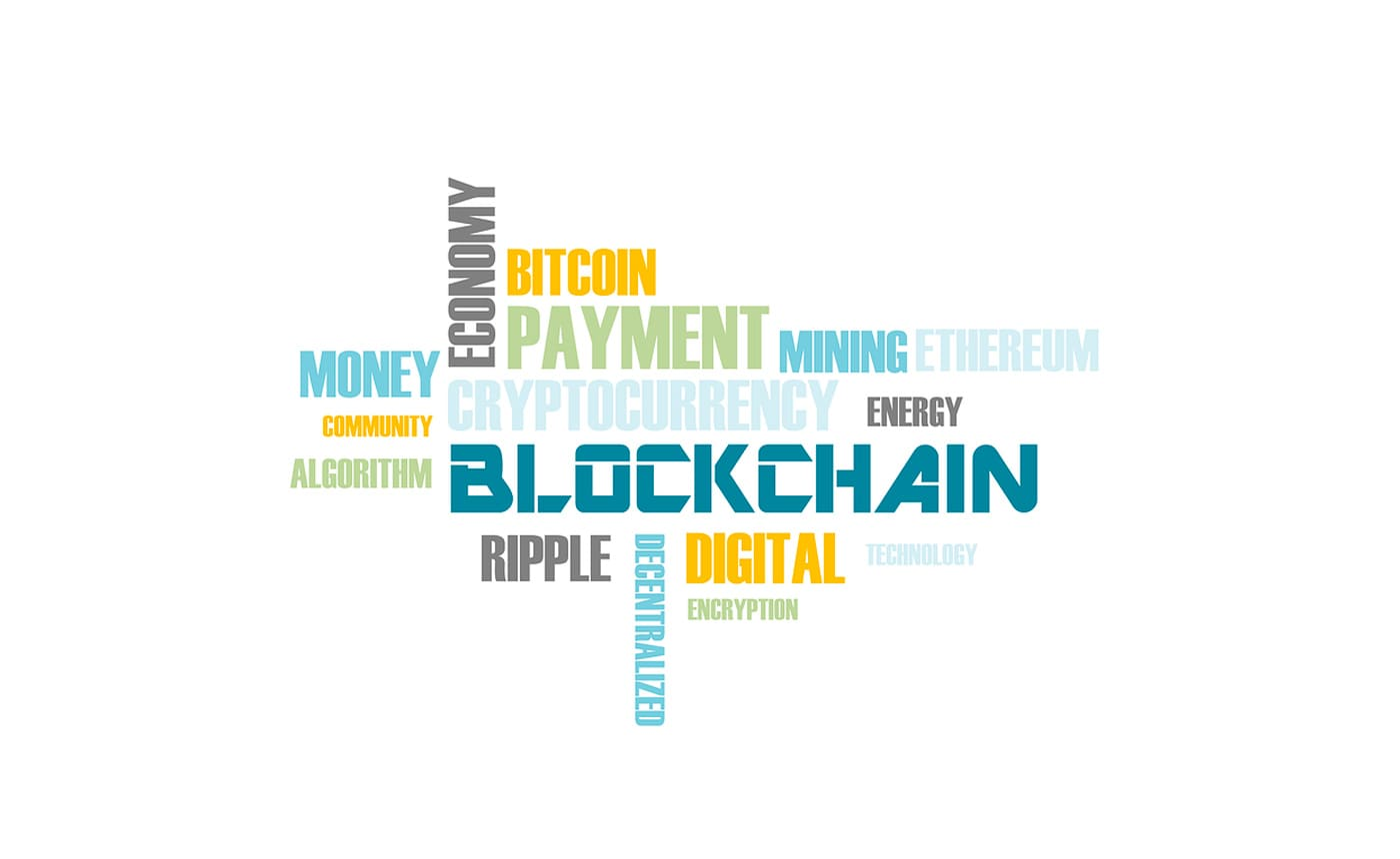 A collage of blockchain-related terms