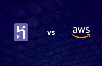Logos of Heroku and AWS opposite each other