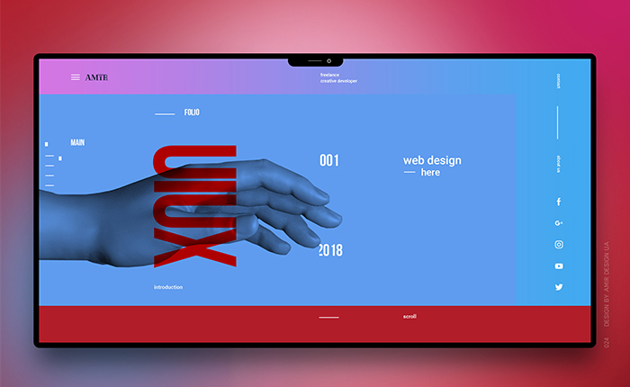 UIUX visualization in red and blue colors