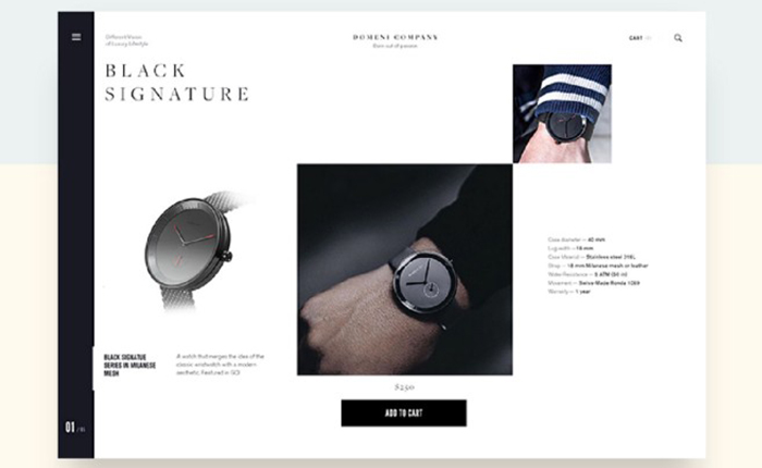 Web design with wrist watch and small font