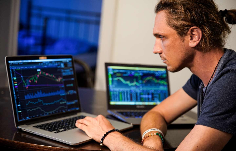 Trader monitoring stock price changes