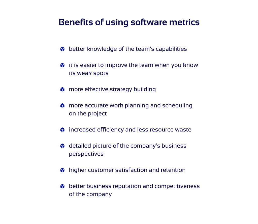 Business advantages of software development metrics