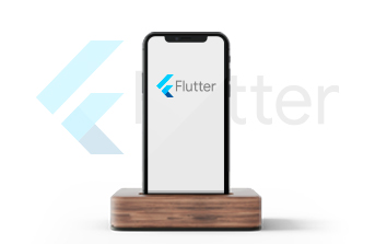 Mobile screen with Flutter logo