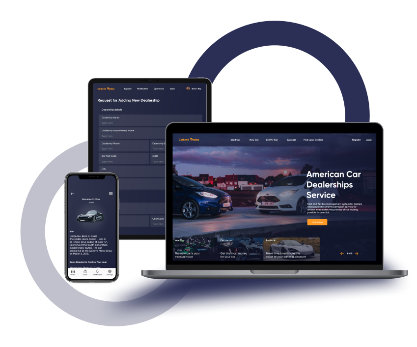 Design of web and mobile apps for car deals