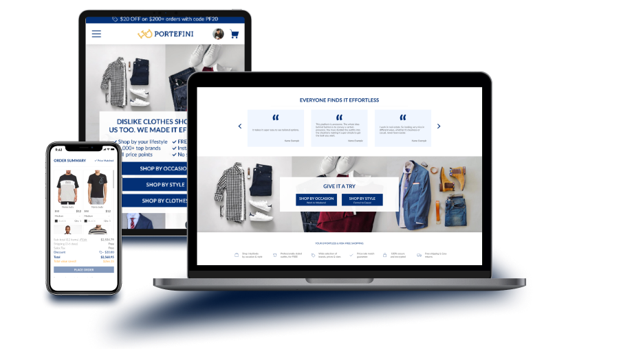 Interface of a clothes marketplace