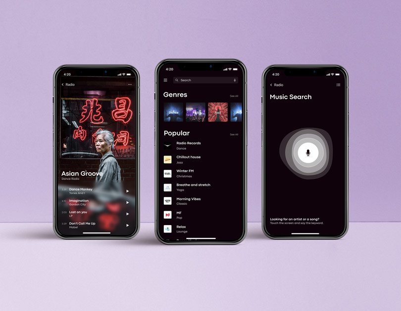 Design of a radio app for mobile