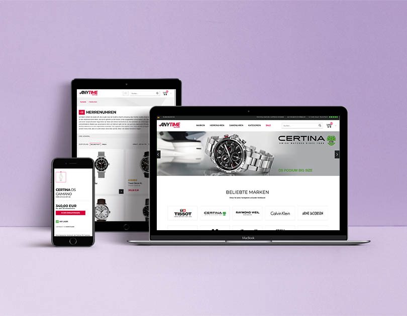 Online wristwatches store displayed on screens