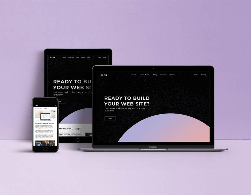 Visualization of a website building platform