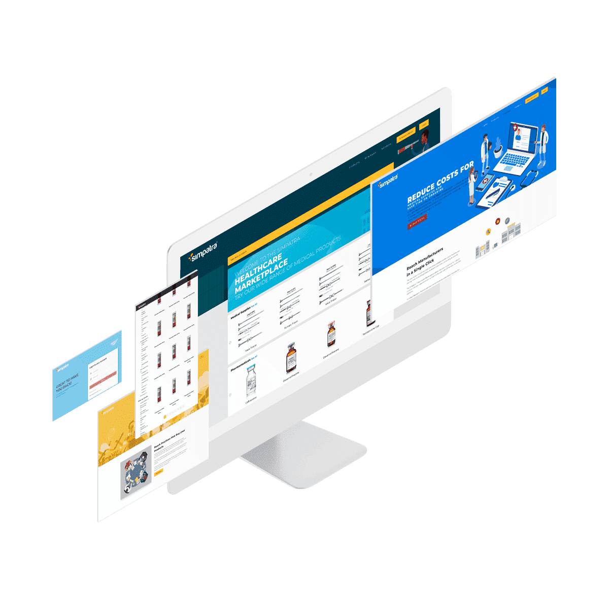 White monitor with white blue and yellow windows