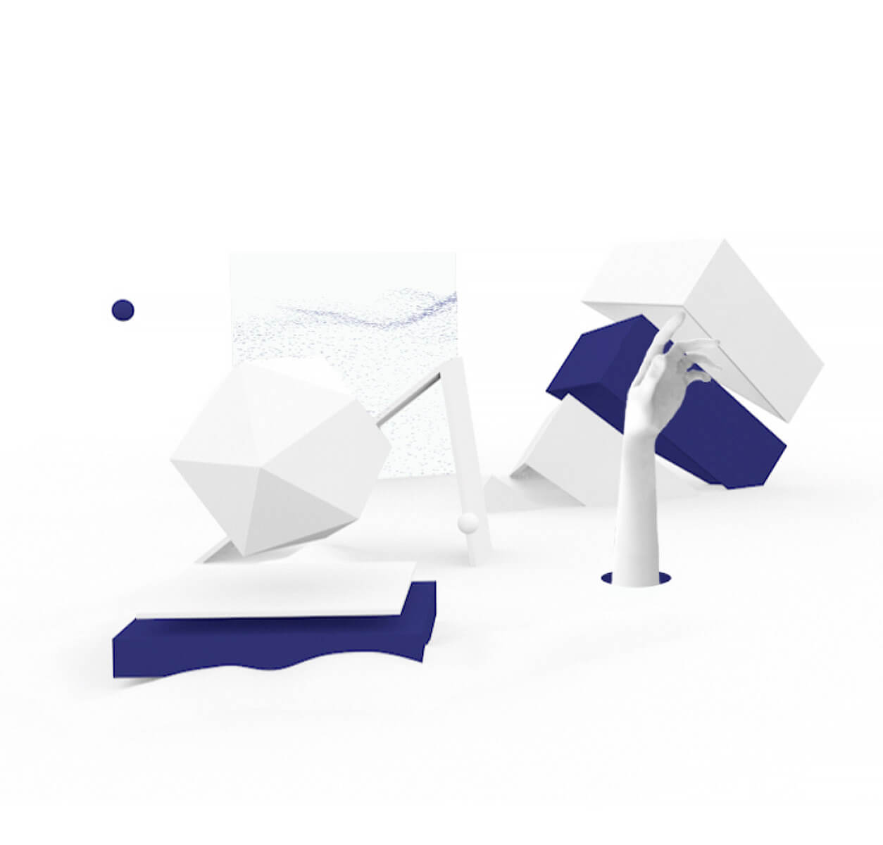 Web and mobile design services page white and blue abstraction