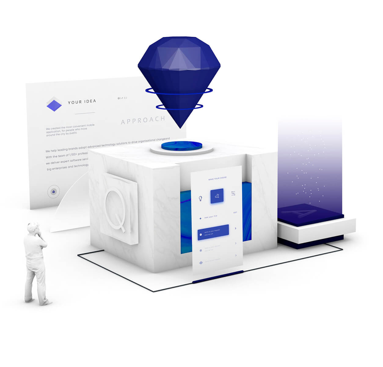 Quality Assurance Services blue gem, white database